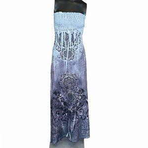 Chesley Black & White Strapless Maxi Dress - M